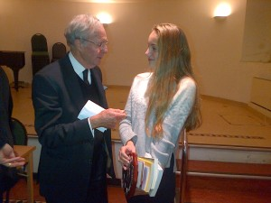 Cecile Janssen, Catholic Young Writer of the Year 2013, with Anthony Tyler of Fisher Press, former Master of the Guild of Catholic Writers